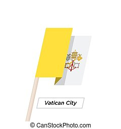 Vatican City Ribbon Waving Flag Isolated on White. Vector...