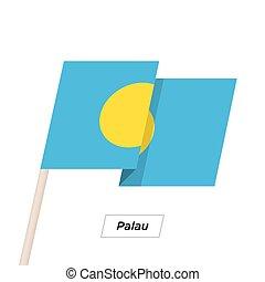 Palau Ribbon Waving Flag Isolated on White. Vector...