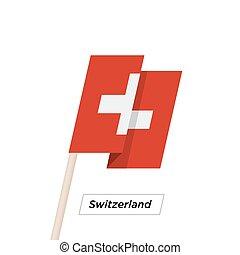 Switzeland Ribbon Waving Flag Isolated on White. Vector...