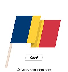 Chad Ribbon Waving Flag Isolated on White. Vector...