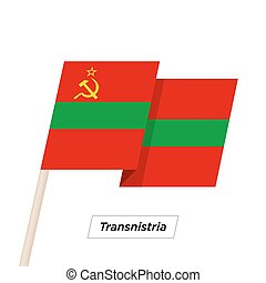 Transnistria Ribbon Waving Flag Isolated on White. Vector...