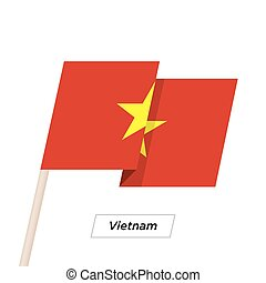Vietnam Ribbon Waving Flag Isolated on White. Vector...