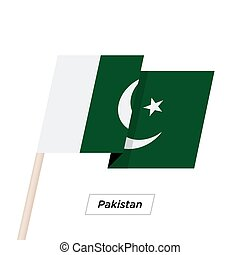 Pakistan Ribbon Waving Flag Isolated on White. Vector...