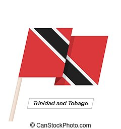 Trinidad and Tobago Ribbon Waving Flag Isolated on White....