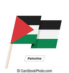 Palestine Ribbon Waving Flag Isolated on White. Vector...