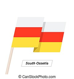 South Ossetia Ribbon Waving Flag Isolated on White. Vector...