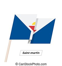 Saint-martin Ribbon Waving Flag Isolated on White. Vector...