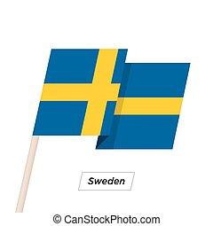 Sweden Ribbon Waving Flag Isolated on White. Vector Illustration.