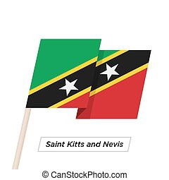 Saint Kitts and Nevis Ribbon Waving Flag Isolated on White....