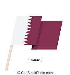 Qatar Ribbon Waving Flag Isolated on White. Vector...