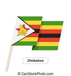 Zimbabwe Ribbon Waving Flag Isolated on White. Vector...