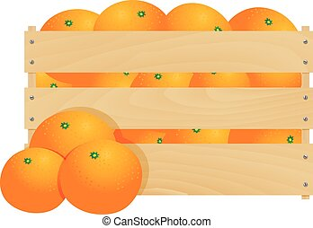 Fresh tangerines in a wooden crate isolated on a white...