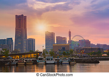 cityscape at Minato-Mirai waterfront, Japan - cityscape at...
