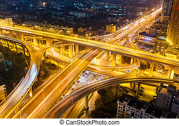 city highway interchange at night - city interchange closeup...