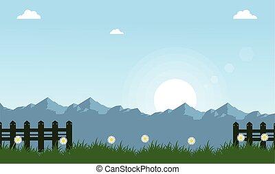 Vector illustration of spring landscape