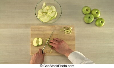Apple cutting for baking. - Cook cutting and cleaning apples...