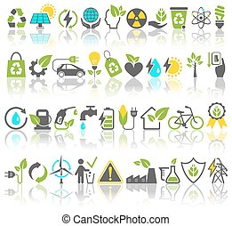 Eco Friendly Bio Green Energy Sources Icons Signs Set with...