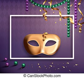 Carnival Mask Concept with Frame Confetti and Ribbons on Purple