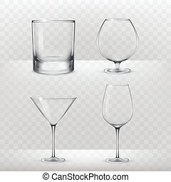Set of glasses for alcohol in a realistic style