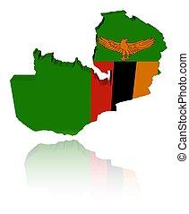 Zambia map flag with reflection illustration - Zambia map...