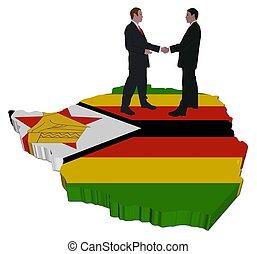 Business people on Zimbabwe map flag