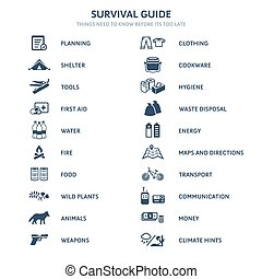 Survival guide icons - Survival guide main topics flat icons
