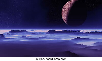 The Moon Flies Over An Alien Planet - A large planet (moon)...