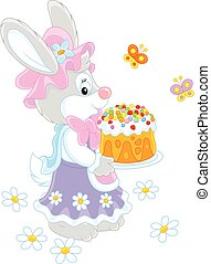 Bunny with an Easter cake - Easter rabbit holding a freshly...