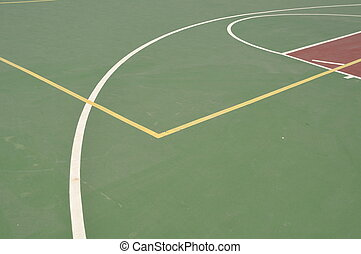 Basketball court - colorful basketball lines on an outdoor...