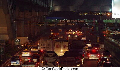 traffic jam - manila traffic congestion, philippines