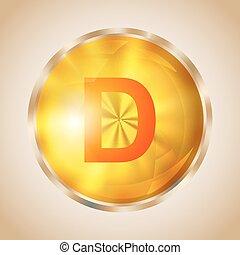 Vitamin D icon - Vitamin D gold shining pill icon. Vector...