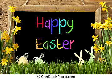 Narcissus, Egg, Bunny, Colorful Text Happy Easter -...