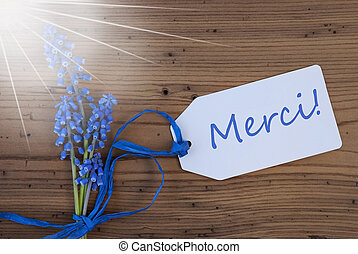 Sunny Srping Grape Hyacinth, Label, Merci Means Thank You -...
