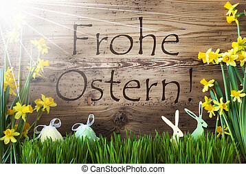 Sunny Egg And Bunny, Gras, Frohe Ostern Means Happy Easter -...