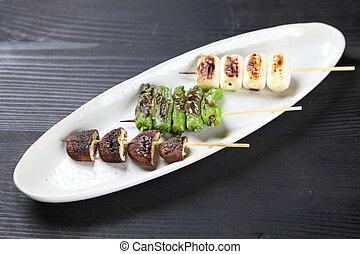 Japanese Veggie Skewers - studio shot of Japanese Veggie...