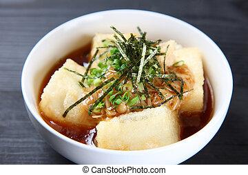 close up shot of agedashi tofu - studio shot of agedashi...