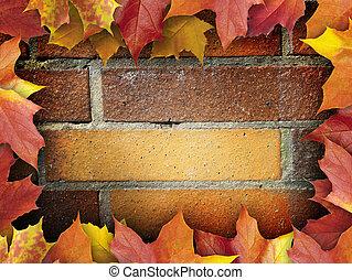 otoño, hojas, marco