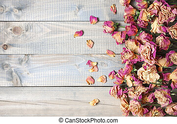 Dry roses background