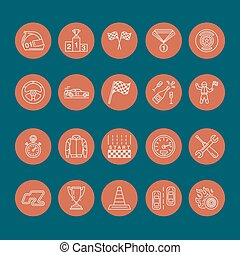 Car racing vector line icons. Speed auto championship signs - track, automobile, racer, helmet, checkers flags, steering wheel. Linear pictogram set with editable stroke for sport event, fan store