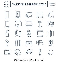 Advertising exhibition banner stands, display line icons. Brochure holders, pop up boards, bow flag, billboard folding marquees and other promotion design elements. Trade objects thin linear signs