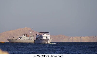 Cruise Boat Floats in the Red Sea - EGYPT, SOUTH SINAI,...