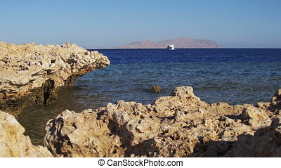 Beach in Egypt. Resort Red Sea Coast. Daytime view of the...