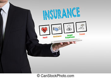 Insurance concept, young man holding a tablet computer.