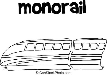 Vector illustration of monorail hand draw collection
