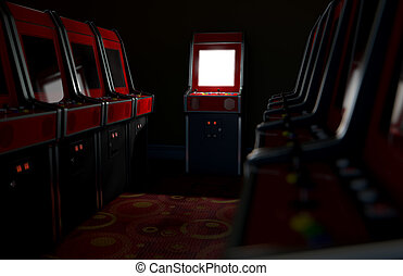 Arcade Aisle With One Illuminated - A 3D render of an aisle...