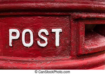 Traditional red british Royal Mail Post Box - Sign post,...