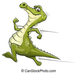 Alligator running vector art - Illustration of a happy...