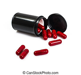Red capsule medical jar in black on a white background