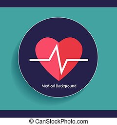 Medical dental background design with heart beat. Vector...