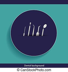Medical dental background design with dentist tools and instruments. Vector illustration